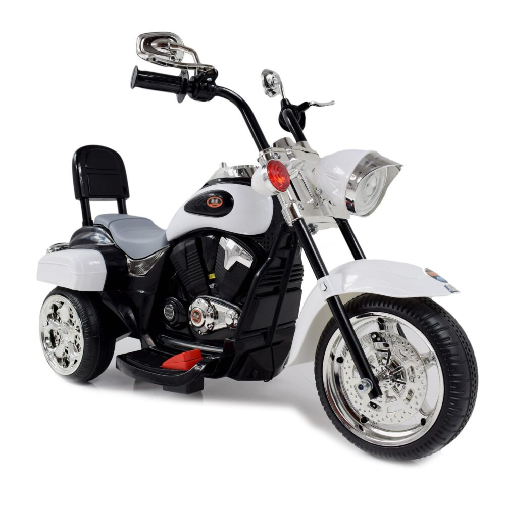 Großes Chopper-Motorrad für Kinder, batteriebetrieben, mit einer Rückenlehne