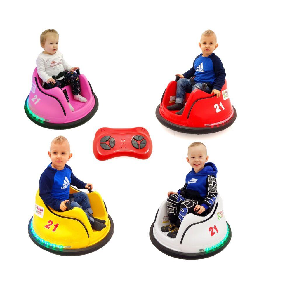 EricoKids Kinder Auto-Scooter, Elektroauto 360° mit LED-Beleuchtung + Fernbedienung, Sicherheitsgurt, Musik-Steuerung – Elektrofahrzeug Kinder Spielzeug (1-6 Jahre)